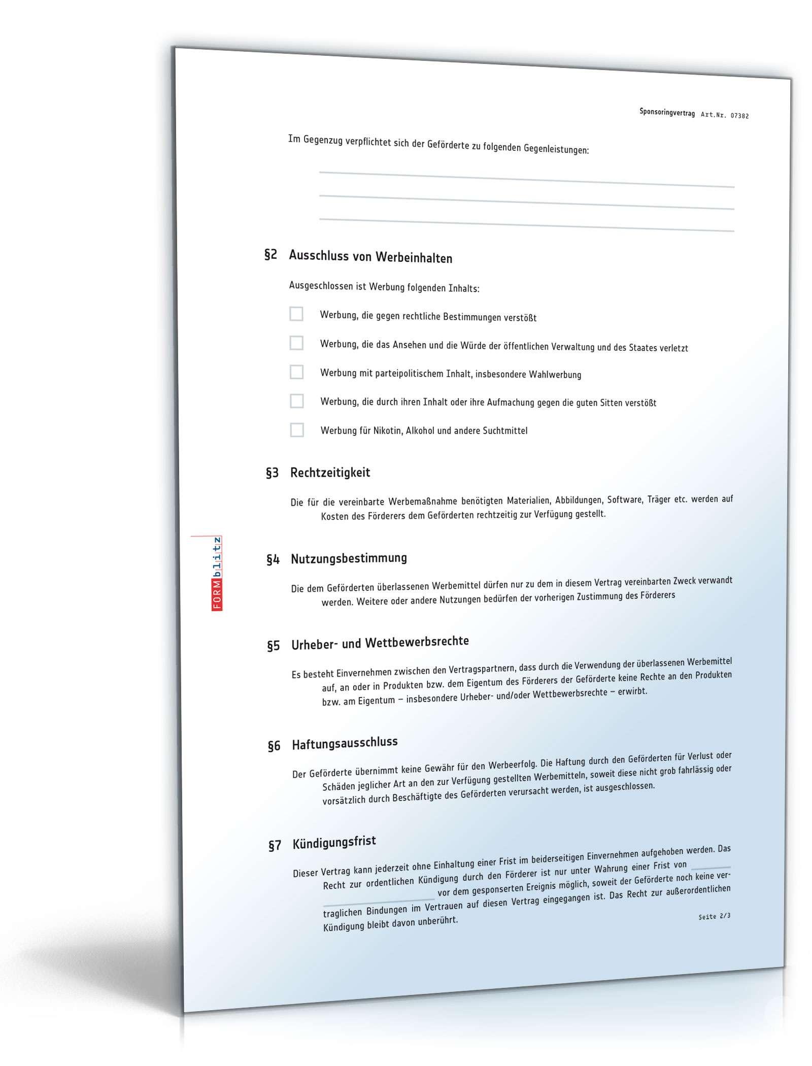 Sponsoringvertrag - Muster-Vorlage zum Download