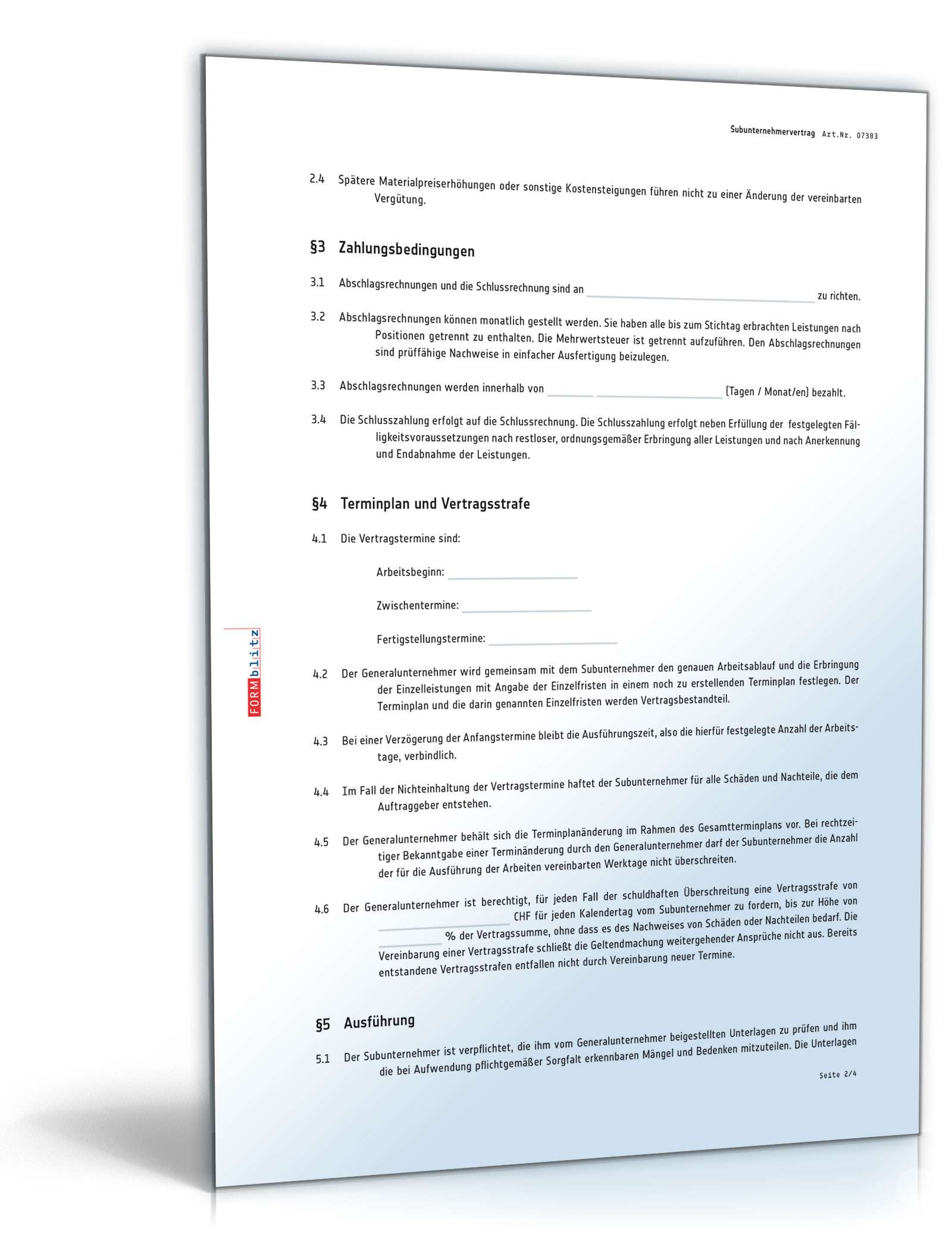 Gemütlich Vertrag Für Subunternehmer Vorlage Ideen - Beispiel ...