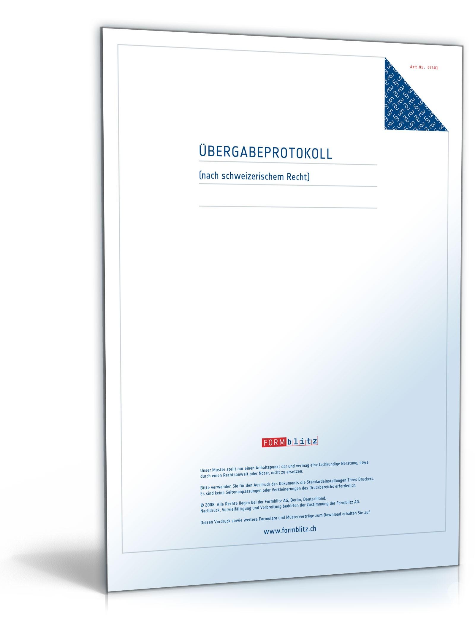 bergabeprotokoll als anlage eines mietvertrages - Ubergabeprotokoll Wohnung Muster