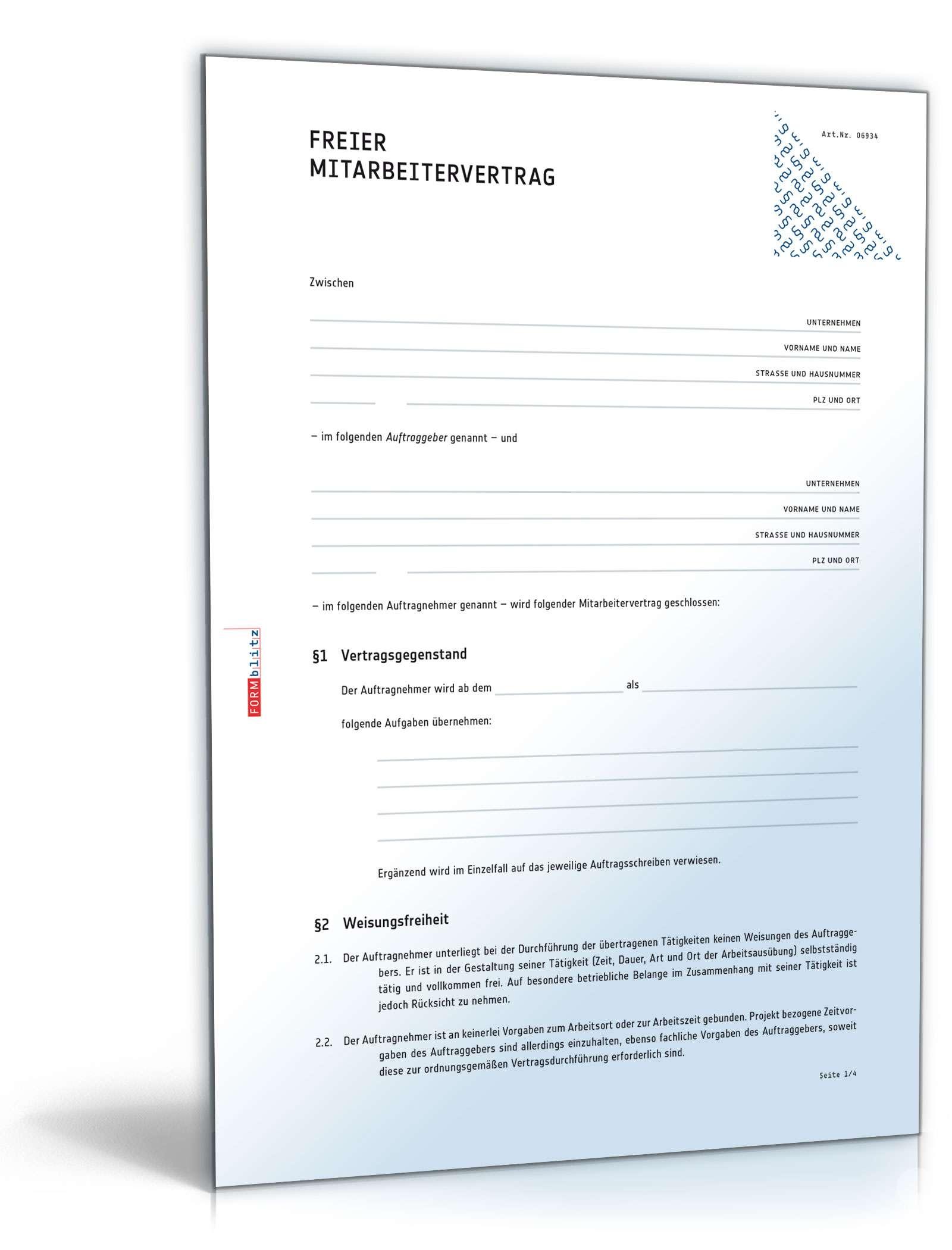 Vertrag über freie Mitarbeit - Muster-Vorlage zum Download