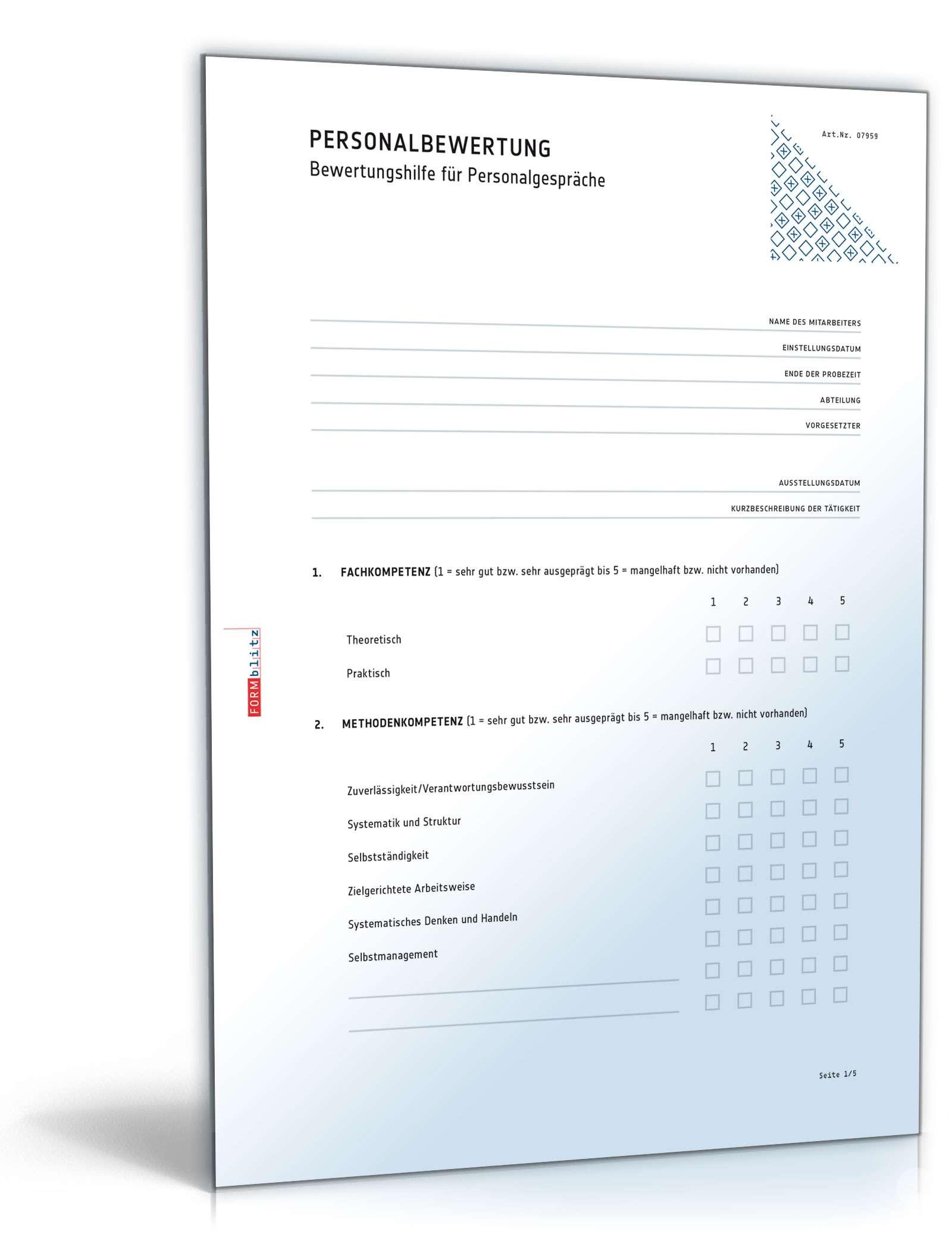 Vorlage für eine Mitarbeiterbeurteilung Dokument zum Download
