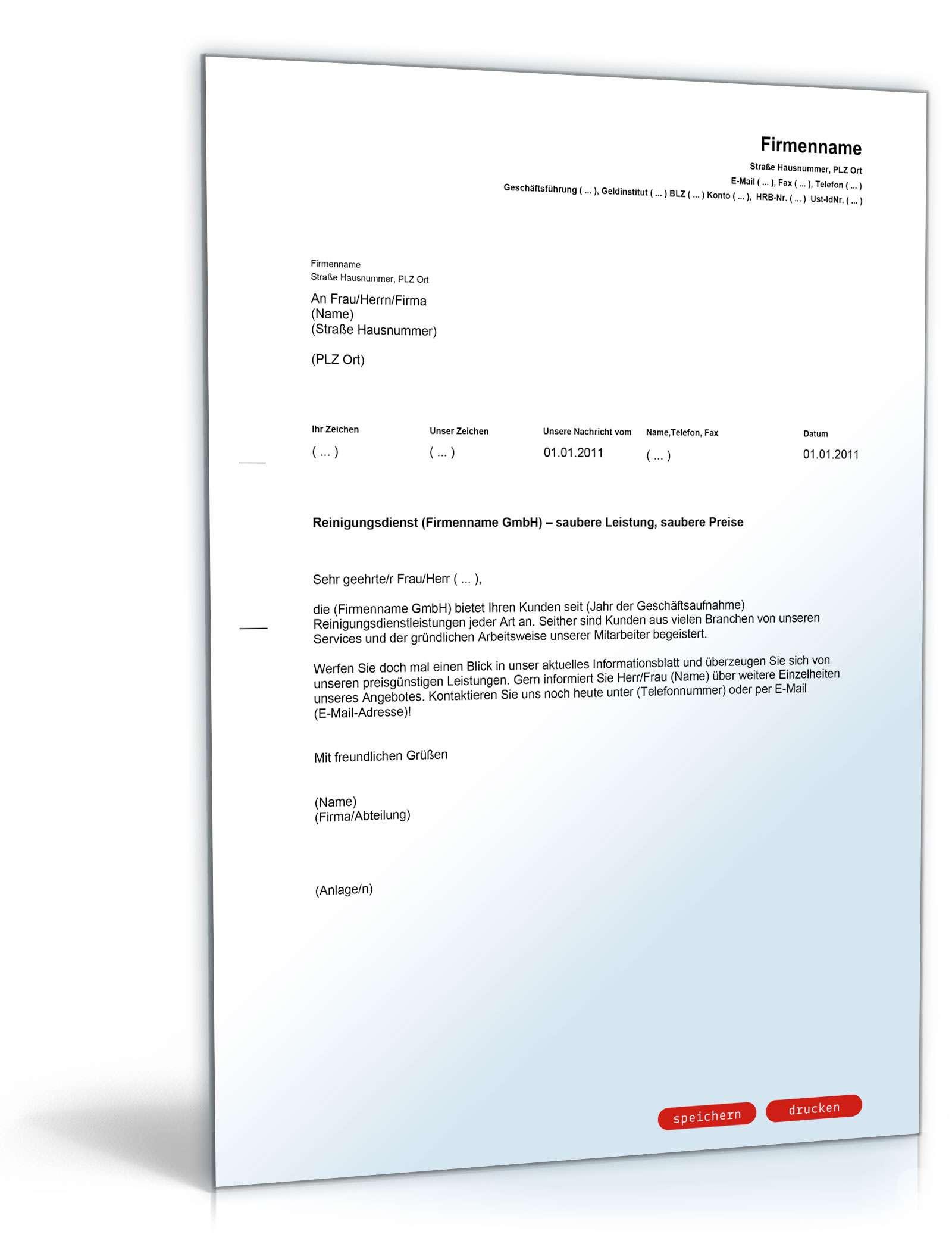 Brief Für Namensänderung : Werbebrief für einen reinigungsdienst muster vorlage zum