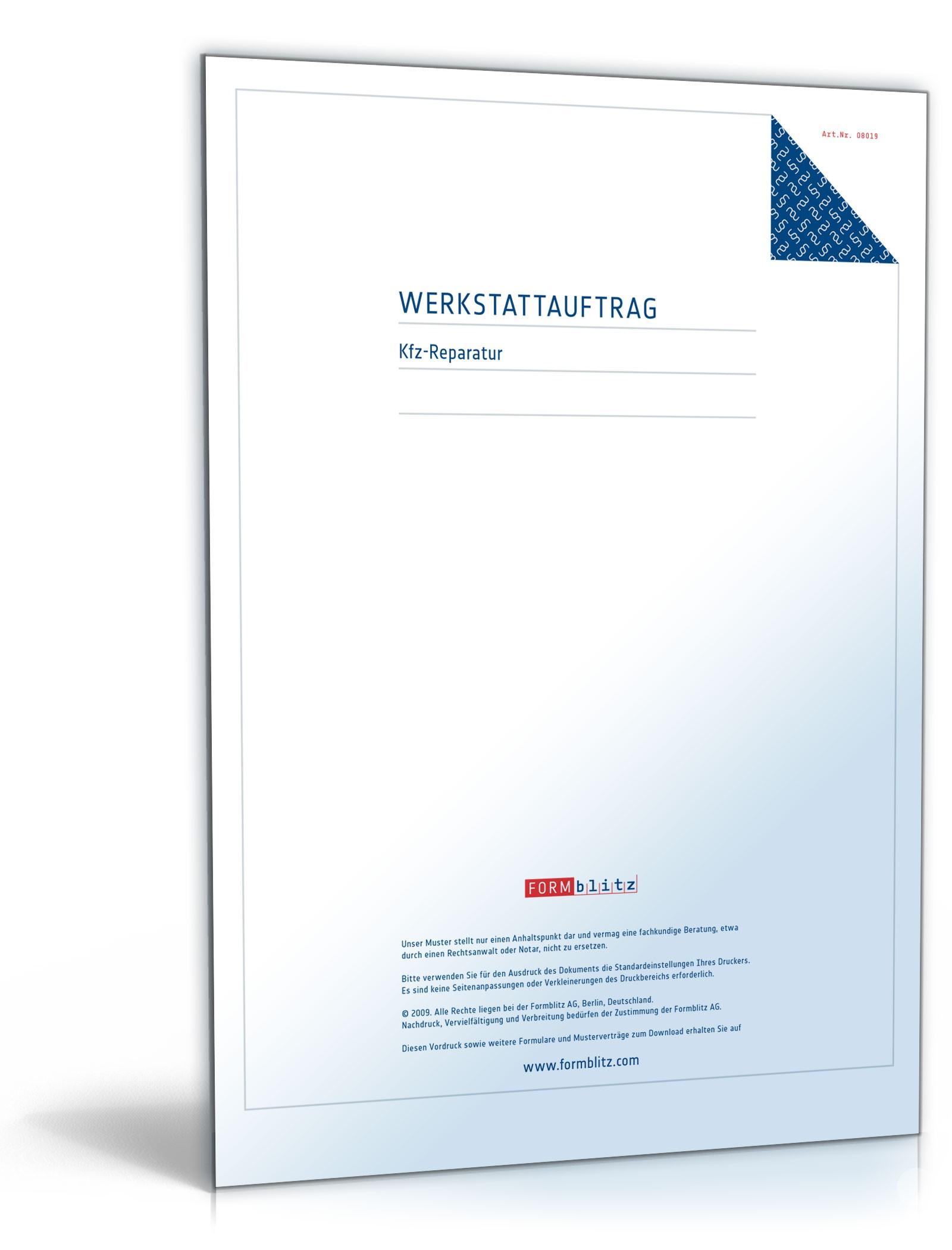 Werkstattauftrag für Kfz-Reparatur – Muster-Vorlage zum Download